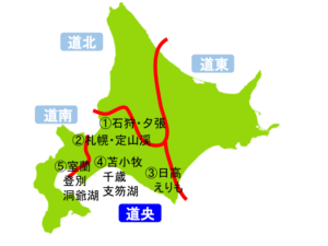 道央(北海道)の地図